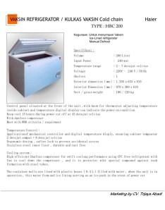 Vaccin Refrigerator HBC200