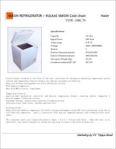 Vaccin Refrigerator HBC70